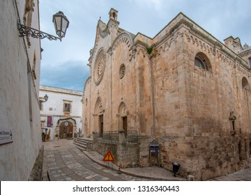 Ostuni, Puglia, Italy - February 15, 2019: Roman Catholic cathedral in Ostuni, Brindisi, Apulia. The dedication is to the Assumption of the Virgin Mary (Concattedrale di Santa Maria Assunta