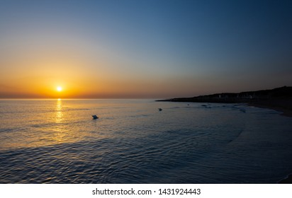 Ostuni, Puglia. Sunrise at Rosa Marina. Renowned seaside resort located in the heart of Salento. This stretch of coast is punctuated by a series of rocky beaches