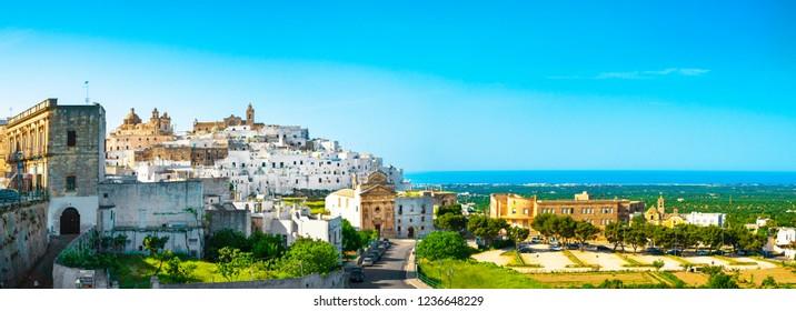 Ostuni white town skyline, Brindisi, Apulia southern Italy. Europe.