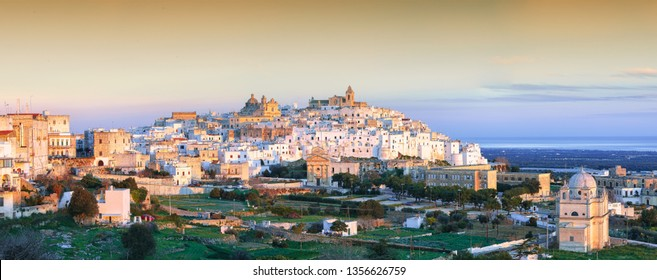 Ostuni white town skyline and Madonna della Grata church, Brindisi, Apulia southern Italy. Europe.