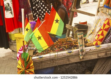 Osu Acca, Ghana- circa 2016: Flags and tourist souvenirs from Ghana