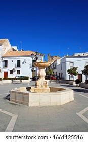 OSUNA, SPAIN - NOVEMBER 13, 2008 - Stone fountain in the town square (Plaza Duque), Osuna, Spain - November 13, 2008