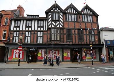 Oswestry, England, UK. 7 July 2017. M & Co shop.