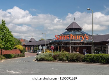 OSWESTRY, SHROPSHIRE, UK - MAY 15, 2018: Exterior of Sainsbury's grocery supermarket in Oswestry, Shropshire