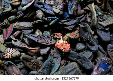 Oswiecim (Auschwitz), Poland, May 8th 2015: KZ Auschwitz I / death camp and world war 2 shoa memorial, mass of shoes from prisioners