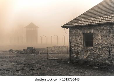 Oswiecim, Auschwitz-Birkenau, Poland/February 10, 2019 ; Auschwitz-Birkenau concentration camp. Death barrack. Jewish extermination camp. German death camp in Oswiecim, Poland.