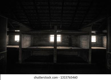 Oswiecim, Auschwitz-Birkenau, Poland/February 10, 2019 ; Barak for mothers with children in the Auschwitz - Birkenau concentration camp. Prison lanes for children.