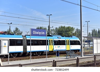 OSWIECIM - POLAND / 03.08.2017: Trains at Oswiecim train station, Poland