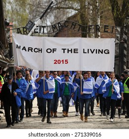 OSWIECIM, POLAND - APRIL 16, 2015: Holocaust Remembrance Day next generation of people from the all the world meets on the March of the Living in German death camp in Auschwitz Birkenau, in  Poland