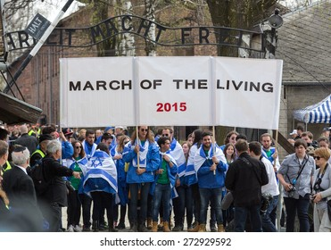 OSWIECIM, POLAND - APRIL 16, 2015: International Holocaust Remembrance Day . Annually people from the all the world meet on the March of the Living in german Concentration Camp in Auschwitz Birkenau