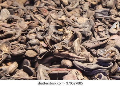 Oswiecim, Poland - August 12, 2015: Exhibition of victims shoes of the former nazi concentration camp of Auschwitz in Oswiecim, Poland, in operation between May 1940 and January 1945.