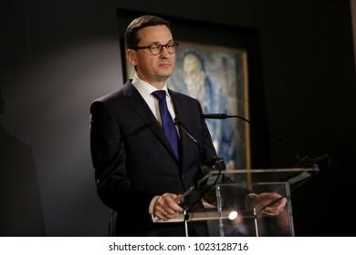 OSWIECIM, POLAND - JANUARY 27, 2018,73 Th Anniversary of the Liberation of Auschwitz-Birkenau. Polish Prime Minister Mateusz Morawiecki