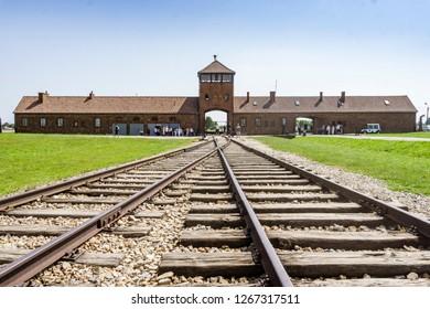 Oswiecim, Poland - July 21,2018: Railway leading to main entrance of Auschwitz Birkenau concentration camp, museum nowadays, Poland