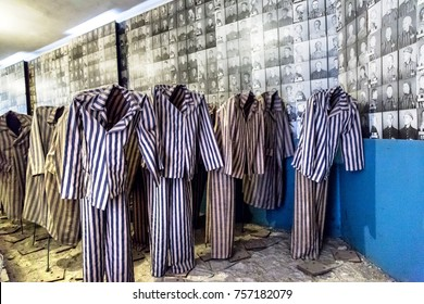 OSWIECIM, POLAND - JULY 22, 2014: Exhibition with prisoners' clothes in Auschwitz.on July 22, 2014 in Oswiecim, Poland