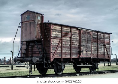 OSWIECIM, POLAND - March 17, 2014: Railroad car at Auschwitz II Camp, a former Nazi extermination camp in Oswiecim, Poland. It was the biggest Nazi concentration camp in Europe.
