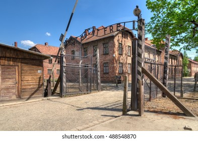 OSWIECIM, POLAND - MAY 12, 2016: Gate entrance to concentration camp Auschwitz with a sign Arbeit Macht Frei in Oswiecim, Poland.