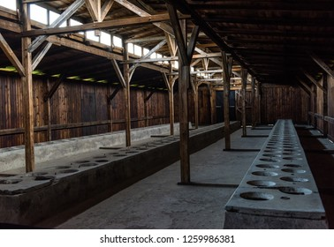 Oswiecim, Poland, MAY 12 2017 - Auschwitz. Birkenau. Interior of a barrack building