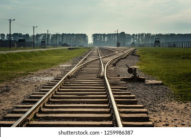 Oswiecim, Poland, MAY 12 2017 - Auschwitz, concentration camp. Railroad tracks was a network of German Nazi concentration camps.