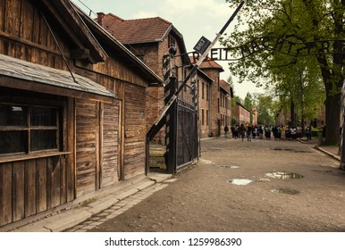 Oswiecim, Poland, MAY 12 2017 - Auschwitz Concentration Camp Arbeit Macht Frei Entrance Gate