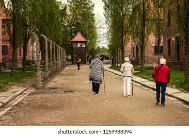 Oswiecim, Poland, MAY 12 2017 - Holocaust Memorial Museum. Auschwitz Birkenau, Nazi concentration and extermination camp