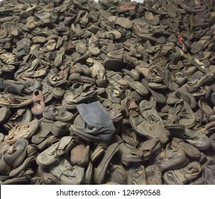 OSWIECIM, POLAND - OCTOBER 22: Boots of victims in Auschwitz, a former Nazi extermination camp on October 22, 2012 in Oswiecim, Poland. It was the biggest nazi concentration camp in Europe.