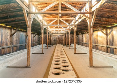 Oswiecim, Poland - October 30,2018: Interior of barrack in Auschwitz Birkenau Museum formerly used as German concentration camp