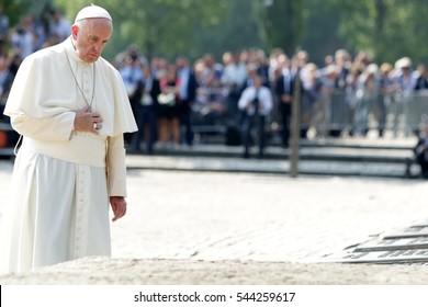 OSWIECIM,AUSCHWITZ, POLAND - JULY 27, 2016: Pope Franciszek during the visit in the Nazi concentration camp Auschwitz - Birkenau. Poland