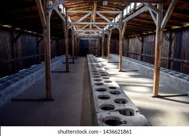 Oswieczim, Poland - September 04 2016: Quarantine barracks interior in Auschwitz II Birkenau concentration camp