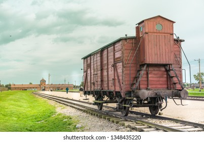 Oswiencim, Poland - September 21, 2019: Abandoned train wagon in the rail entrance to concentration camp at Auschwitz Birkenau KZ Poland