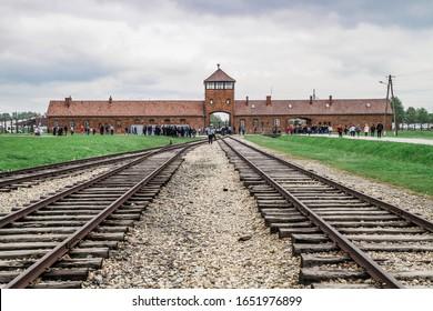 OSWIEZIM, POLAND - MAY 19, 2019: Auschwitz Birkenau, the extermination camp, Concentration Camp in Poland, Nazis concentration  camp, World War II. Death camp. Prison Dorms. Holocaust Memorial.