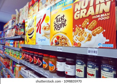 Otago/New Zealand - May 16 2018 Nutri Grain K Just Right Jam cereal breakfast products strawberry raspberry preserve oatmeal cornflakes crunchy healthy food on supermarket shelf