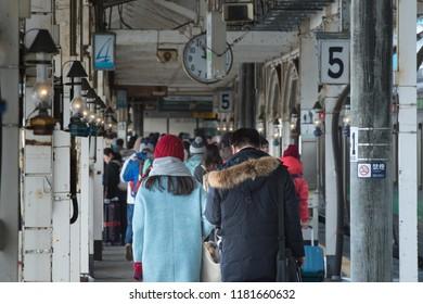 OTARU HOKKAIDO, JAPAN -4 Jan 2017- View of the Otaru train station operated by JR Hokkaido. Otaru is a tourist destination close to Sapporo in Hokkaido.