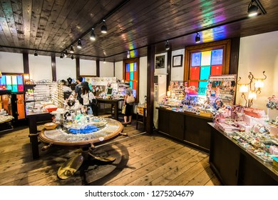 Otaru, Hokkaido/ Japan - July 29, 2018:  Tourists looking for  music box at Ptaru Music Box Museum or Otaru Orgel Museum.