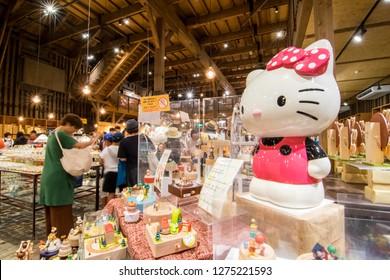 Otaru, Hokkaido/ Japan - July 29, 2018: The Hello Kitty model in Otaru Music Box Museum or Otaru Music Orgel.