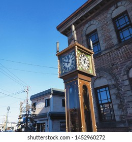 Otaru, Hokkaido - November 2, 2018 : The steam clock vancouver in front of Music box museum, the landmark in Otaru. The highlight is every 15 minutes there will be music and steam