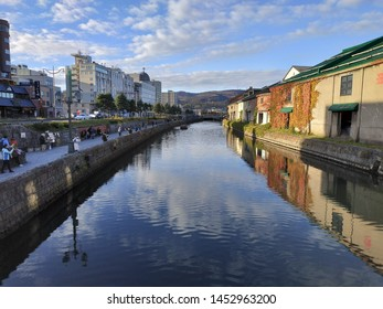 Otaru, Hokkaido - November 2, 2018 : Otaru Canal in Autumn, the famous place for tourist with nice atmosphere and scenic scene. Different views in different seasons.