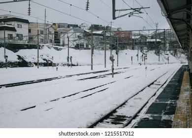 Otaru, Japan - JANUARY 4, 2018 : Otaru Station is a railway station in Otaru, Hokkaido, Japan. The station consists of two island platforms serving four tracks.