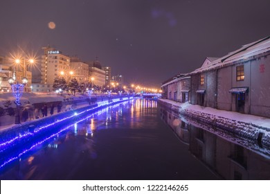 Otaru, Japan - JANUARY 4, 2018 : Beautiful view of Otaru canal in Winter. The Otaru Canal is a popular tourist destination for Japanese and foreign visitors who see the romantic scene image with snow.