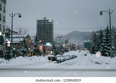 Otaru, Japan - JANUARY 4, 2018 : Winter scenery in Otaru city, Otaru is a small harbor city, about half an hour northwest of Sapporo by train. Its beautifully preserved canal area.