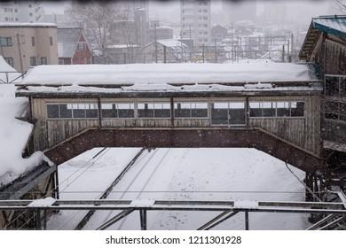 Otaru train station while snowing in Otaru prefecture, Hokkaido, Japan