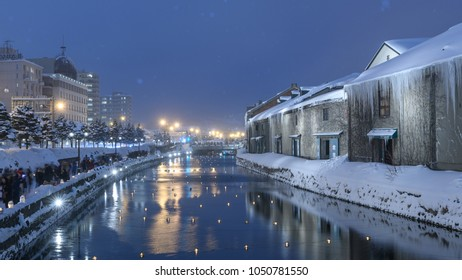Otaru,Hokkaido, Febuary 18,2018.Snow falling in Otaru canal during snow light path festival