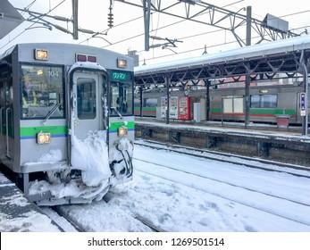 Otaru/Hokkaido/Japan - 12/11/18: JR Railway, Rapid Airport Train (New Chitose Airport - Otaru) at Otaru Station in Winter Season.