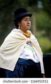 Otavalo. Ecuador. 03.29.08. Ecuadorian woman at Otavalo Livestock Market in Otavalo, northern Ecuador.
