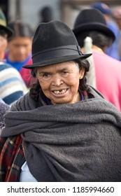Otavalo. Ecuador. 04.03.08. Ecuadorian woman on Otavalo Livestock Market in northern Ecuador, South America.