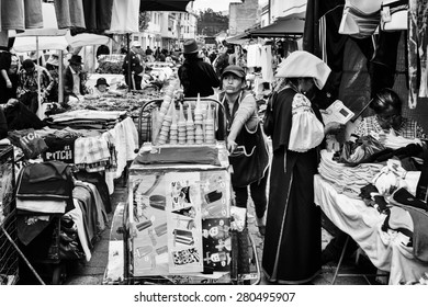 OTAVALO, ECUADOR - JAN 3, 2015: Unidentified Ecuadorian people at the Otavalo Market. 71,9% of Ecuadorian people belong to the Mestizo ethnic group