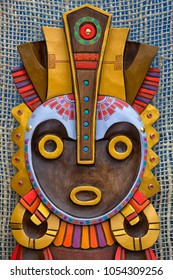 Otavalo, Ecuador- March 24, 2018: indigenous colourful wood mask on display at the artisan market