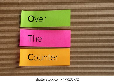 OTC (Over The Counter) acronym on colorful sticky notes