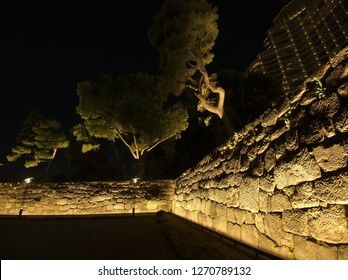 OTEMACHI, TOKYO / JAPAN – DECEMBER 28, 2018: The inside of stone walls which were illuminated at Wadakura-bori Moat of Imperial Palace in Japan.
