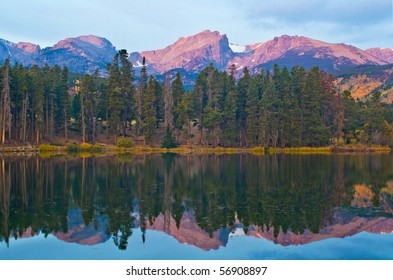 Otis, Hallett and Flattop Mountains from Sprague Lake in Rocky Mountain National Park in northern Colorado