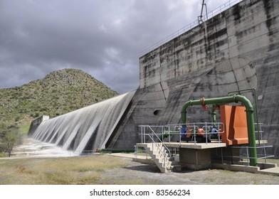 The Otjivero Dam overflowing, Namibia